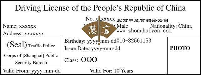 北京翻译公司驾驶证英文翻译模板